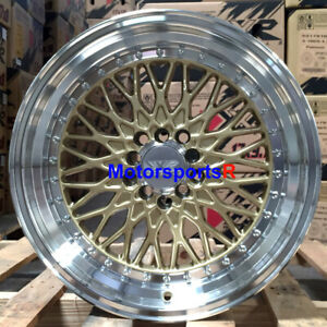 Xxr 536 Wheels 17 X9 25 Gold Machine Lip Rims 5x114 3 Stance 06 Acura Rsx 08 Tl