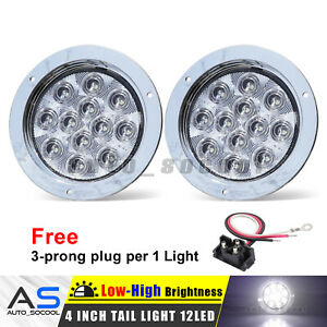2 Pcs White 12 Led 4 Inch Round Surface Back Up Reverse Tail Light 12v Lorry Bus