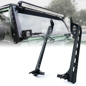 50 Mamba Series Front Windshield Light Bar Mount Brackets For Jeep Wrangler Tj