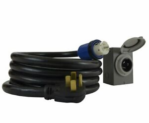 Temporary Power Cord Inlet Box Kit Connector Cable 50amp Generator Plug 15ft New