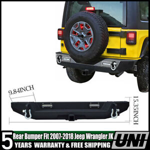 Rear Bumper With D Ring Shackle 2 Hitch Receiver For 2007 2017 Jeep Jk Wrangler