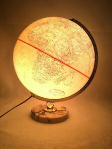 Vintage Replogle Globe Light Up World Premier Series 12 Diameter Marble Base