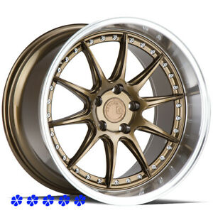 Aodhan Ds07 18 X 9 5 10 5 15 Bronze Staggered Wheels 5x4 5 Stance Hellaflush
