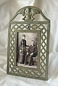 Decorative Victorian Brass Angel Table Top Picture Frame With Cabinet Card Photo