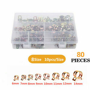 80pcs Atv Fuel Line Hose Spring Clip Water Pipe Air Tube Clamps Set 6mm 14mm