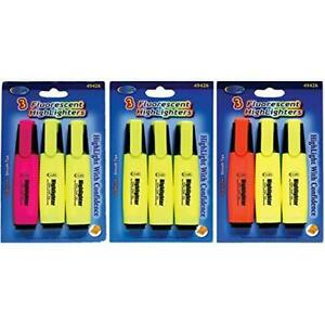Fluorescent Highlighters 3 Pk Case Pack Of 24 Ideal For Bulk Buyers