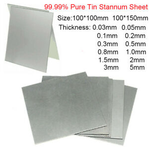 99 99 Pure Tin Metal Sheet Plate Scientific 100 100 100 150mm 0 03 0 05 0 1mm