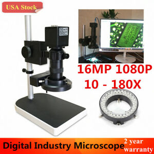 16mp 180x 1080p 60fps Hdmi Hd Industry Lab Microscope Camera Set Tf Recorder