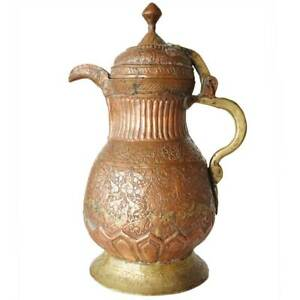 Antique Indian Mughal Chased Copper And Brass Coffee Pot