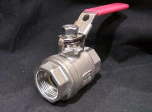 Stainless Steel Ball Valve 1000wog Red Handle 1 1 4