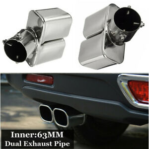 Universal Stainless Steel Chrome Car Bent Double Exhaust Tail Pipe Muffler Tips