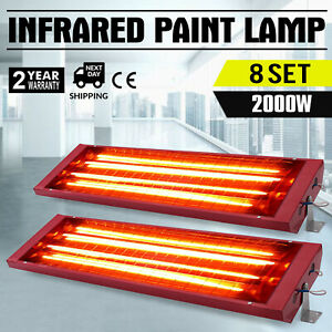 8sets 2kw Spray Baking Booth Infrared Paint Curing Lamp Heating Light Heater