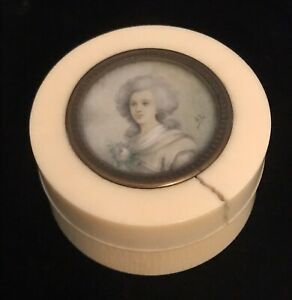 Antique Miniature Portrait Painting Of Woman With Ivory Box