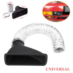 Set Universal Turbo Air Intake Port Front Bumper Opening Inlet Loom Tube W Clamp