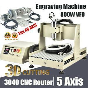 5 Axis Cnc 3040 Router Engraving Milling Machine Engraver Drilling Cutting 800w