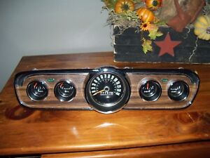 1966 Ford Mustang Gauge Cluster Wood Grain Nice Chrome Clear Lens Free Shipping