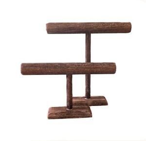 Set Of 2 Wooden T bar Jewelry Displays 12 And 7 High Brown