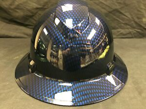 New Full Brim Hard Hat Custom Hydro Dipped Candy Blue Carbon Fiber Free Ship