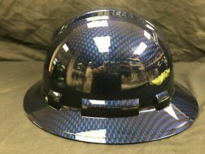 New Full Brim Hard Hat Custom Hydro Dipped Blue Candy Carbon Fiber Free Ship