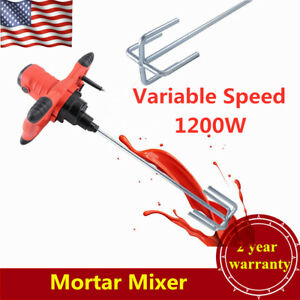 110v 1200w Industrial Electric Paint Mortar Cement Concrete Mixer 6 speed Usa