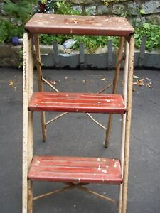Vintage Red Metal Folding Step Stool