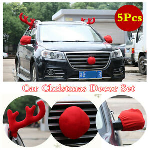 Car Body Christmas Elk Plush Antlers Nose Mirror Cover Styling Decor Accessories