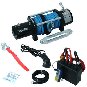 6hp 12000lb Electric Winch Offroad Synthetic Rope 12v