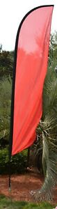 New Solid Red Feather Swooper Business Flag Pole Stake Kit Advertising