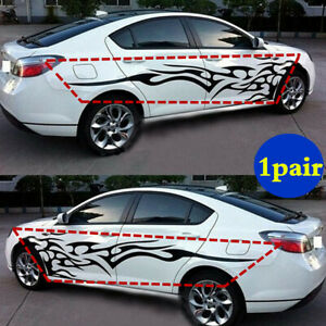 1pair Car Body Side Door Vinyl Decal Sticker Black Flame Graphics Racing Stripes