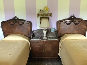 Pair Antique Rosewood Carved French Rococo Louis Xv Twin Bed Frames