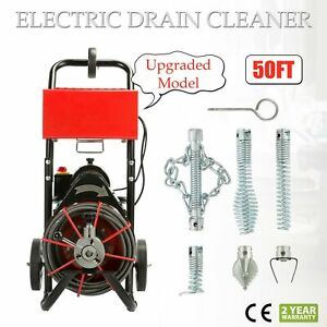 50ft 1 2 Drain Auger Pipe Cleaner Cleaning Machine Easy 160 Rpm Sewer Snake