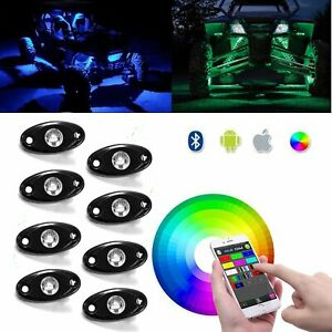8pods Rgb Led Rock Lights With Bluetooth Controller cell Phone Control timing