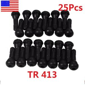 25 Pcs Tr 413 Snap In Rubber Tire Valve Stems Short Most Popular Valve Black Us