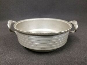 19th C Antique American Pewter Two Handled Bowl Hallmarked