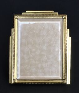 Antique Mcm Gold Metal Frame Beveled Glass Etching Table Top 3x4 Photo Picture