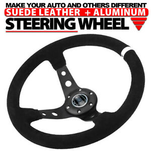 14 Deep Dish 6bolt Suede Leather Jdm Sport Racing Drifting Steering Wheel White