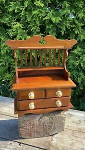 Vintage Wooden Miniature Carpenters Apprentice Piece Small Dresser With Draws
