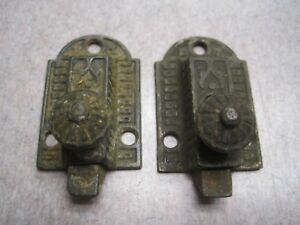 2 Antique Eastlake Slide Handle Cabinet Door Latch Lock Castiron 1 3 8 X 2
