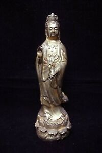 Fine Large Chinese Old Gilt Bronze Guanyin Buddha Standing Statue Sculpture