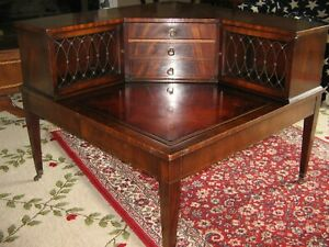 Antique Heirloom Weiman Corner Leather Top Table 9905 Large 1940 S Drawers