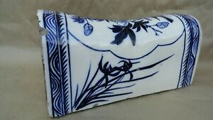 Antique Chinese Pillow Porcelain Blue White Old 11 1 4 X 5 X 5 1 2 Heavy