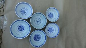 Rice Grain 6 Bowls Chinese Porcelain Blue White 4 Marked Dragon Bats Flower Cups