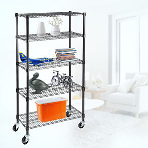 5 Tier Adjustable Shelf Wire Shelving Unit Storage Rack Stainless Steel Black