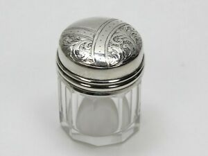 Small 10 Sided Glass Jar With Sterling Silver Lid 1 1 2