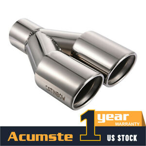 Stainless Steel Dual Exhaust Tips Pipe Weld On 2 25 Inlet 3 Outlet 9 5 Long Us
