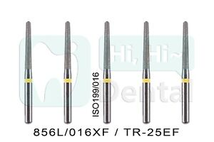 10pcs Dental Diamond Burs Fg Round End Taper 856l 016xf Tr 25ef Extra Fine Grit