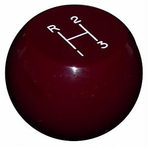 Vintage Flat Top Burgundy 3 Speed Shift Knob 3 8 24 Thread U S Made