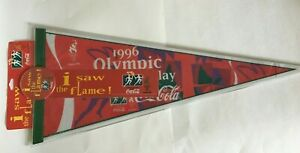 Vintage Coca-Cola 1996 ATLANTA Olympic Torch Relay Red Pennant 30