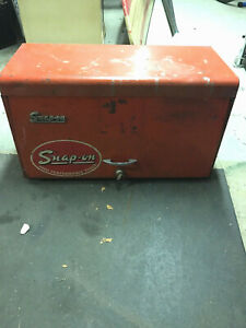 Vintage Snap on Tools 9 Drawer Flip Open 26 Tool Box Chest Red Steel With Key