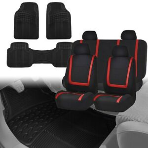 Auto Seat Covers Universal For Car Truck Suv Van W Black Vinyl Floor Mats